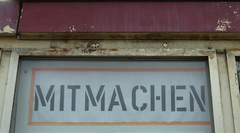 sign with the german word for participation: Mitmachen